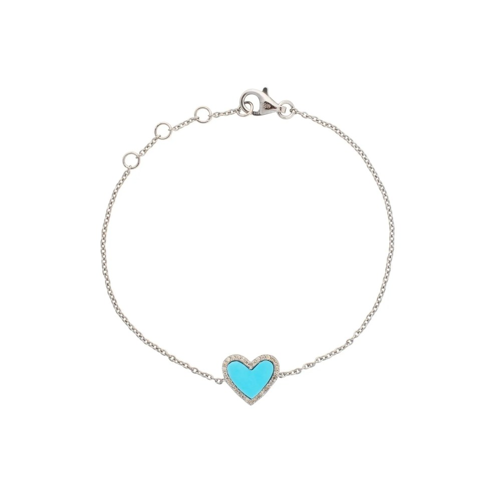 Diamond Mini Turquoise Enamel Heart Bracelet Sterling Silver