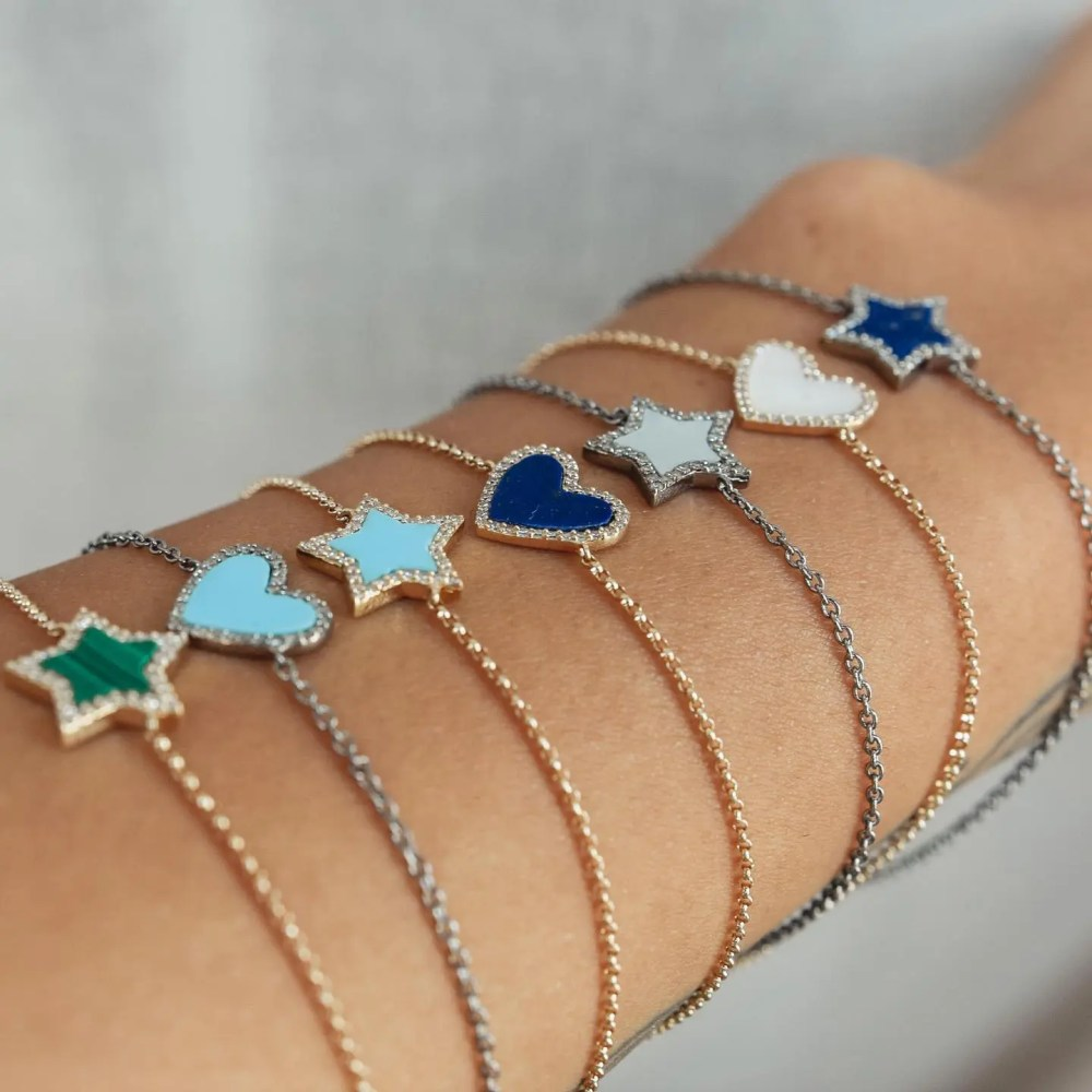Diamond Mini Turquoise Enamel Heart Bracelet