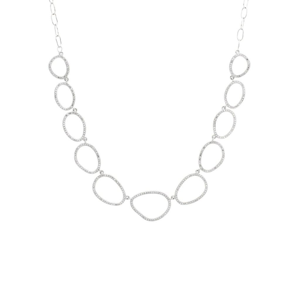 Diamond Open Pebble Link Necklace 14k White Gold
