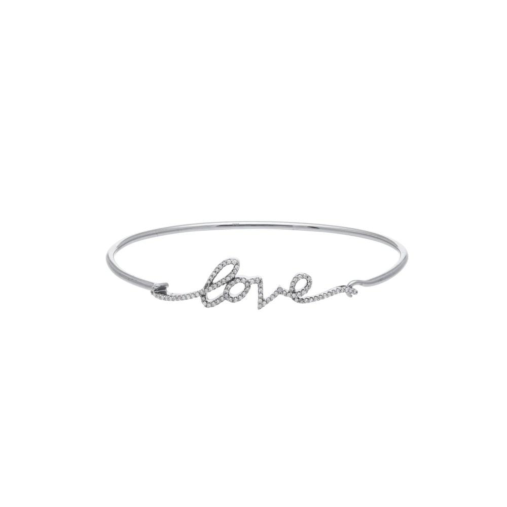 Diamond Script Love Wire Bangle Sterling Silver