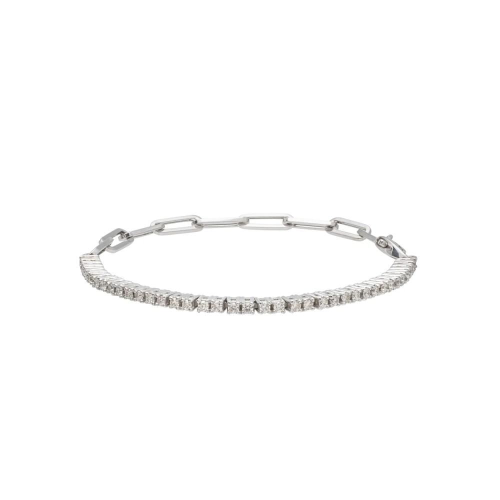 Diamond Tennis Paper Clip Chain Bracelet 14k White Gold