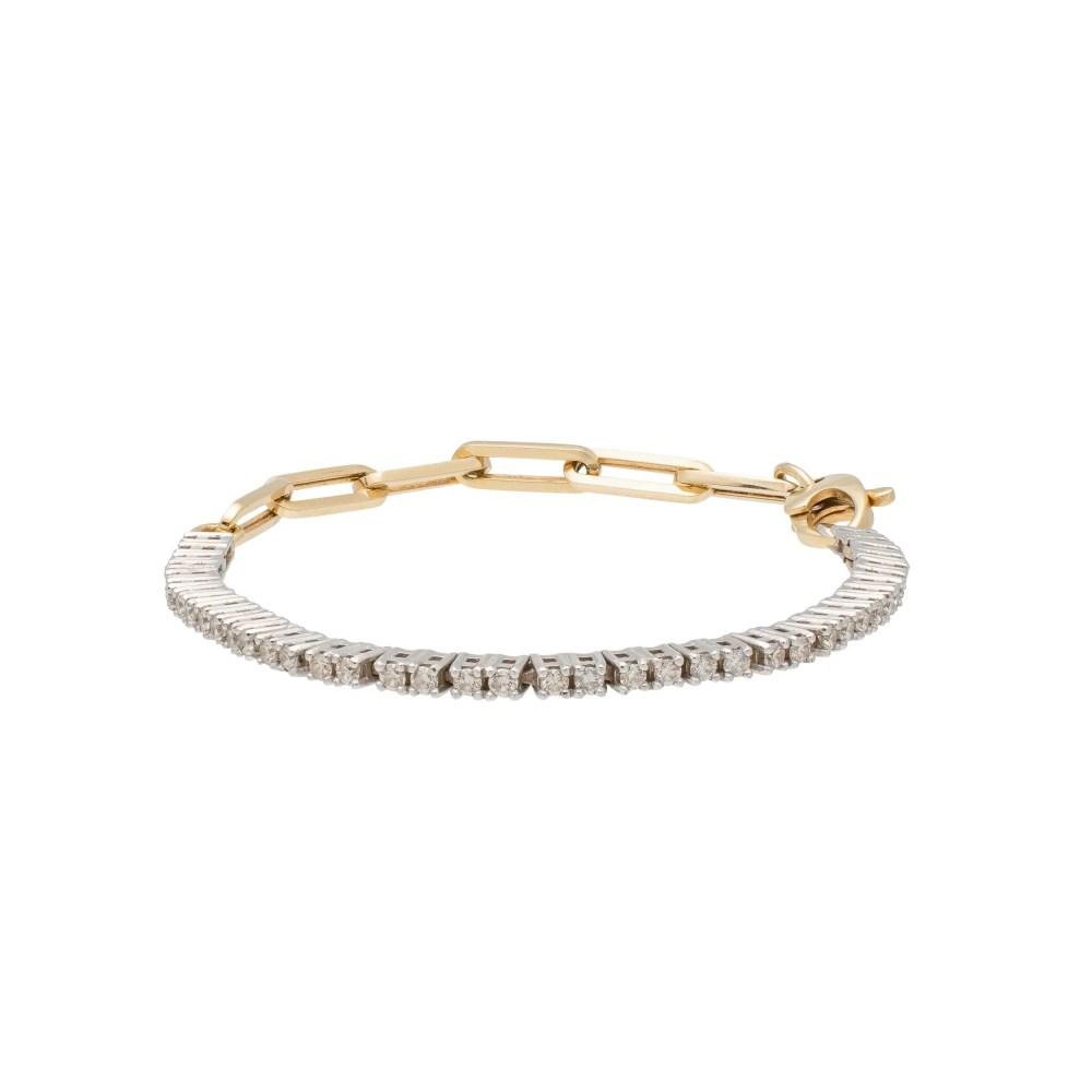 Diamond Tennis Paper Clip Chain Bracelet 14k Yellow Gold
