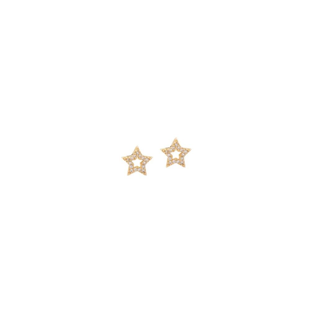 Mini Cutout Diamond Star Earrings Yellow Gold