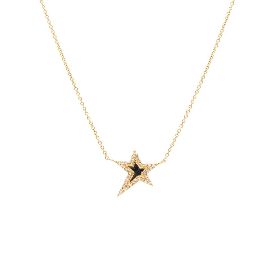 Mini Diamond Black Enamel Star Necklace Yellow Gold