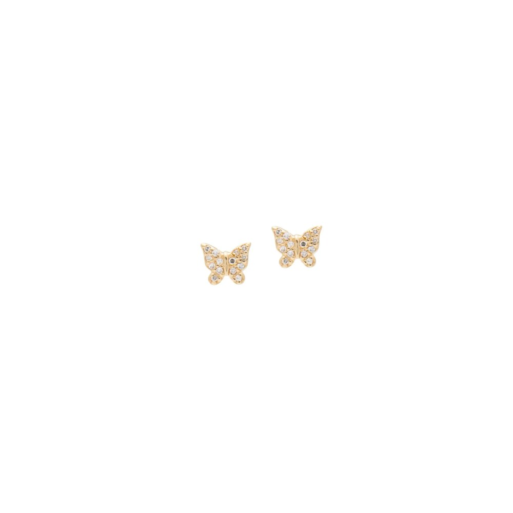 Mini Diamond Butterfly Earrings Yellow Gold