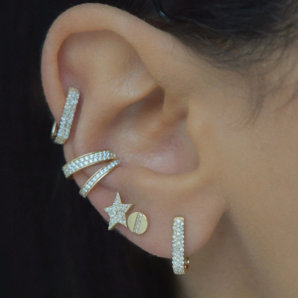 Diamond Chubby Rectangle Link Huggie Earrings