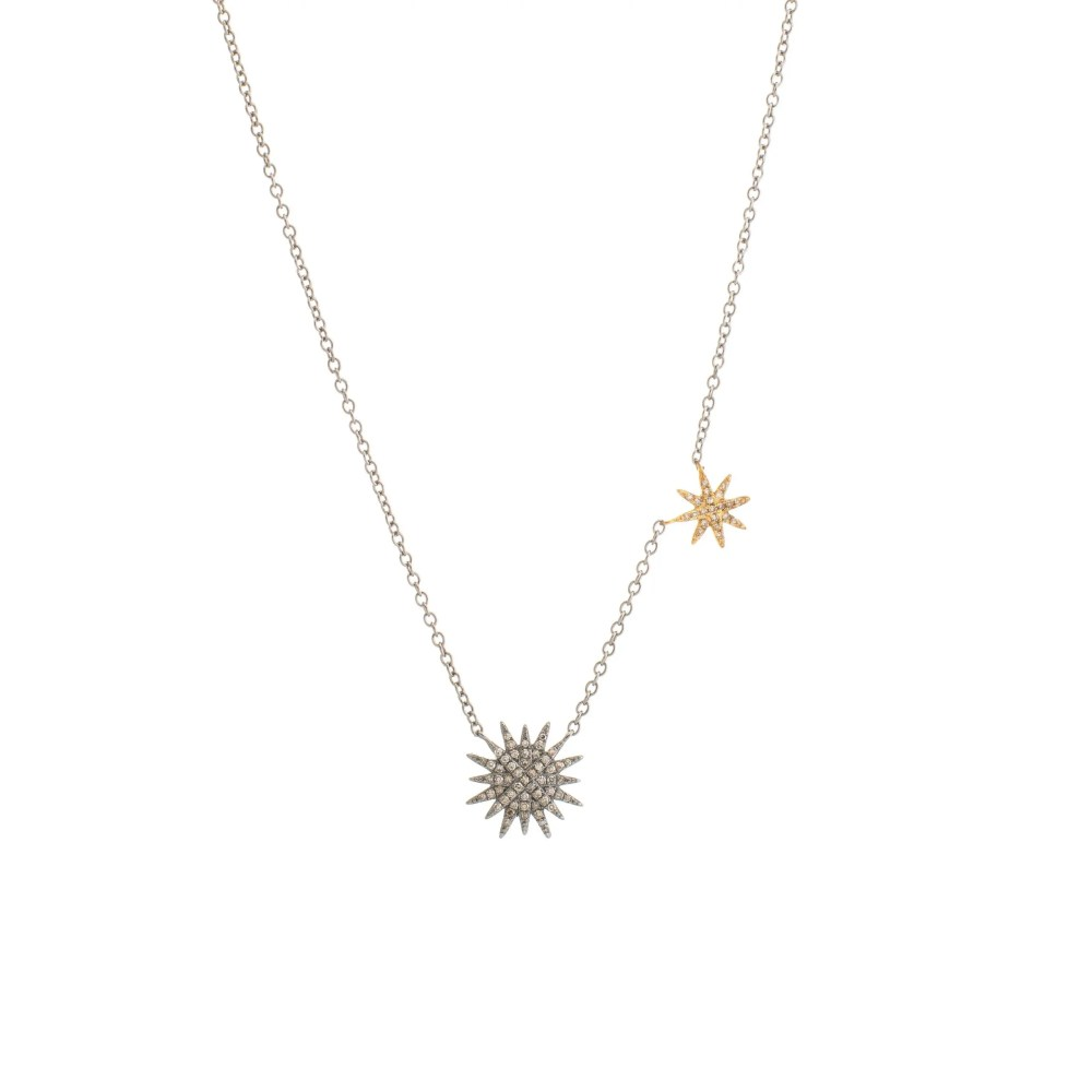 Diamond Double Starburst Necklace Silver and Gold