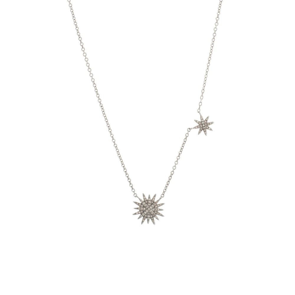 Diamond Double Starburst Necklace Sterling Silver