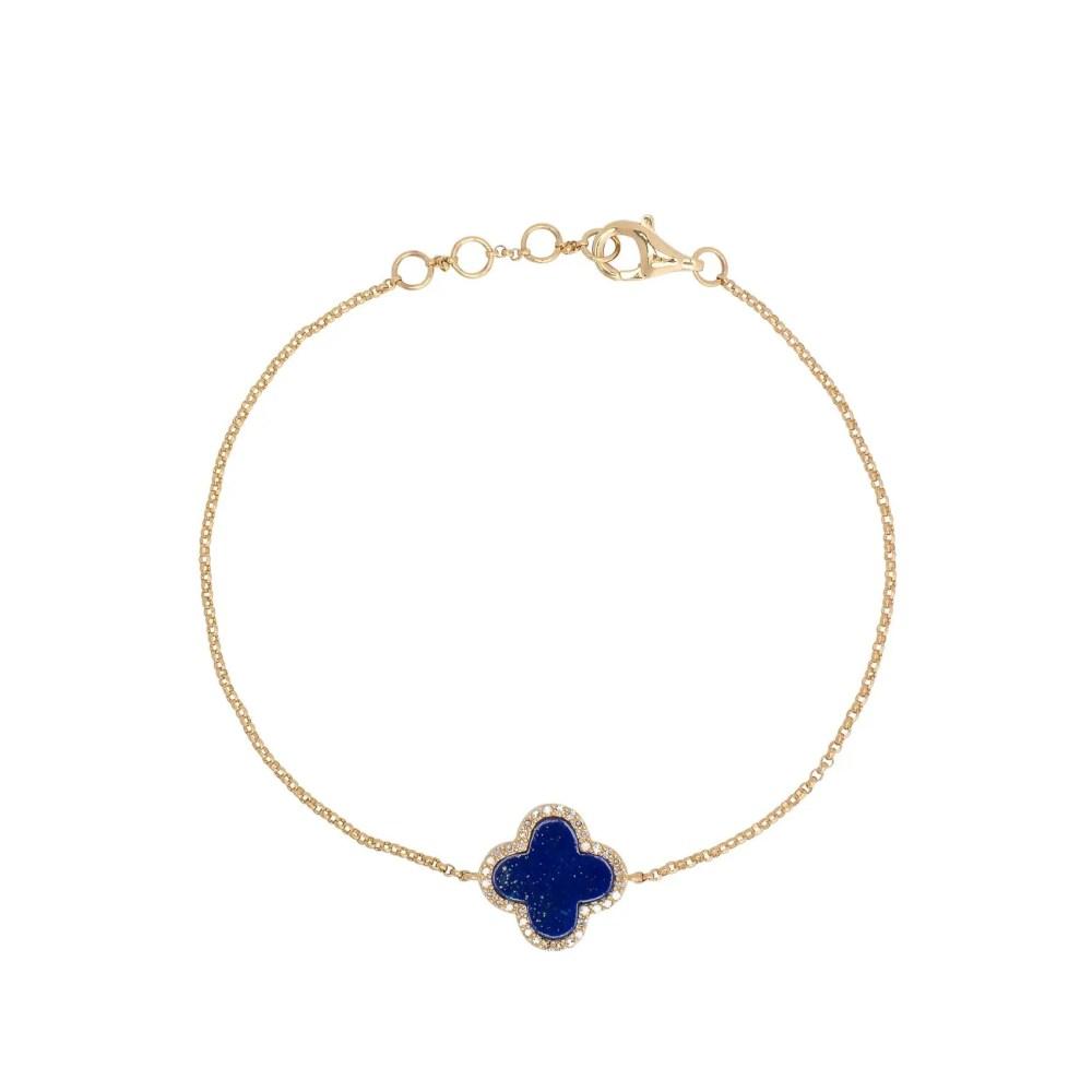 Diamond Mini Lapis Enamel Clover Bracelet Yellow Gold