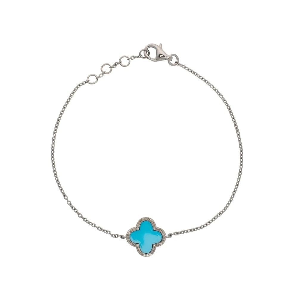 Diamond Mini Turquoise Clover Bracelet Sterling Silver