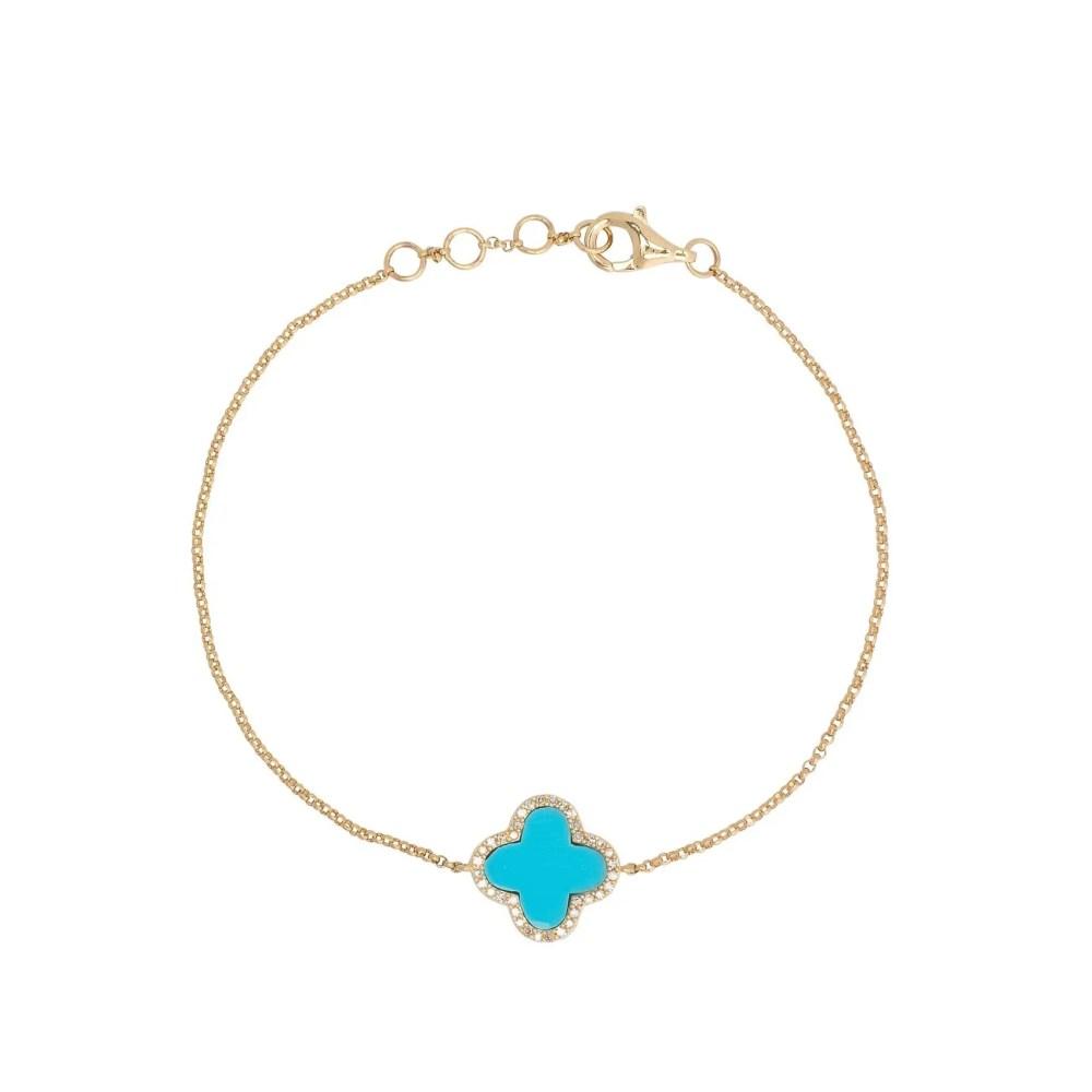 Diamond Mini Turquoise Enamel Clover Bracelet Yellow Gold