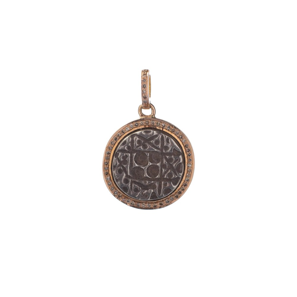Diamond Rose Gold Tribal Coin Charm Rose Gold