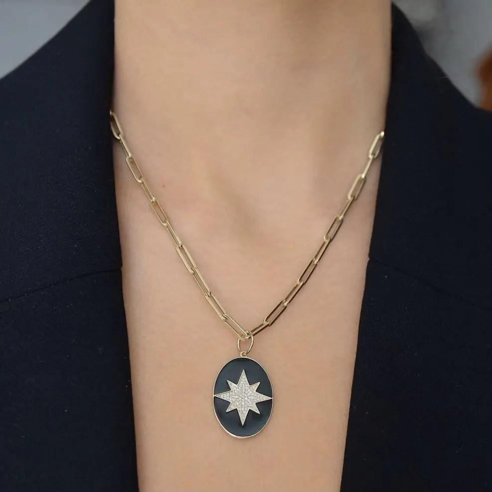 Diamond Starburst + Black Enamel Oval Pendant