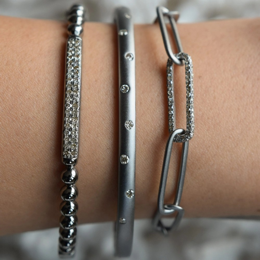 Matte Chain Link Bracelet with Diamond Link
