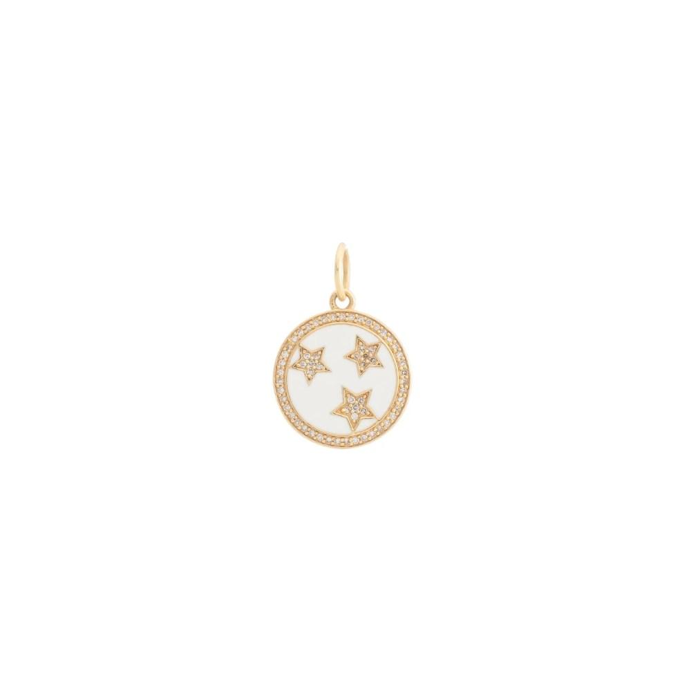 Mini Diamond + White Enamel Stars Disc Charm White Gold