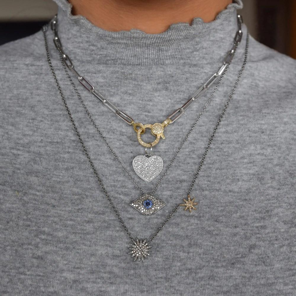 Pave Diamond Heart Charm