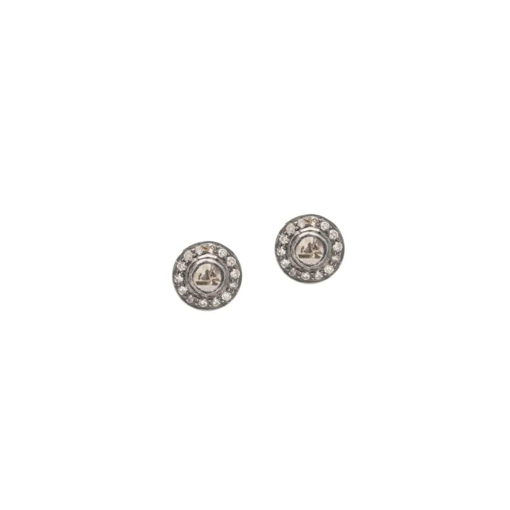 Diamond Rosecut Halo Circle Stud Earrings
