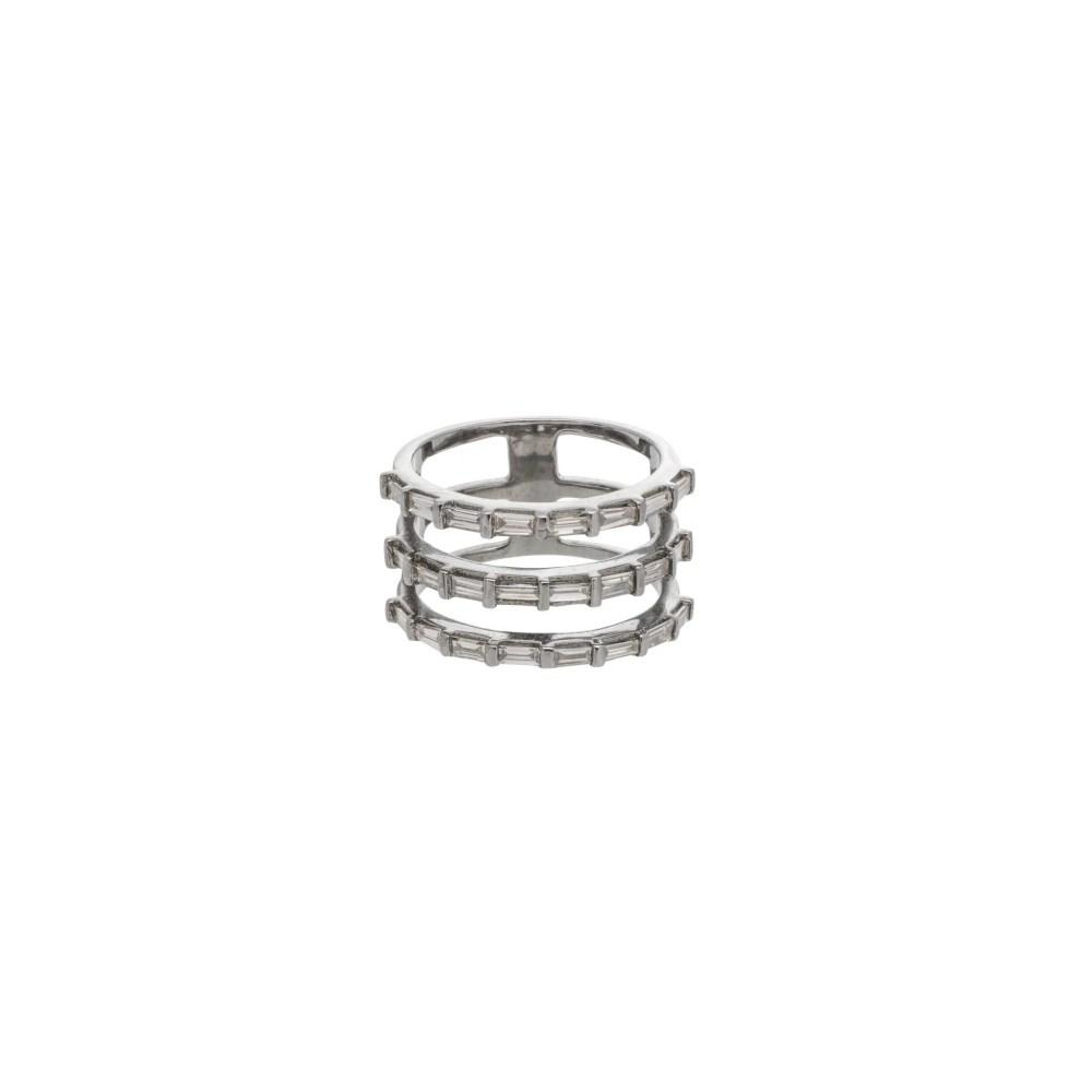 Triple Row Diamond Baguette Statement Ring