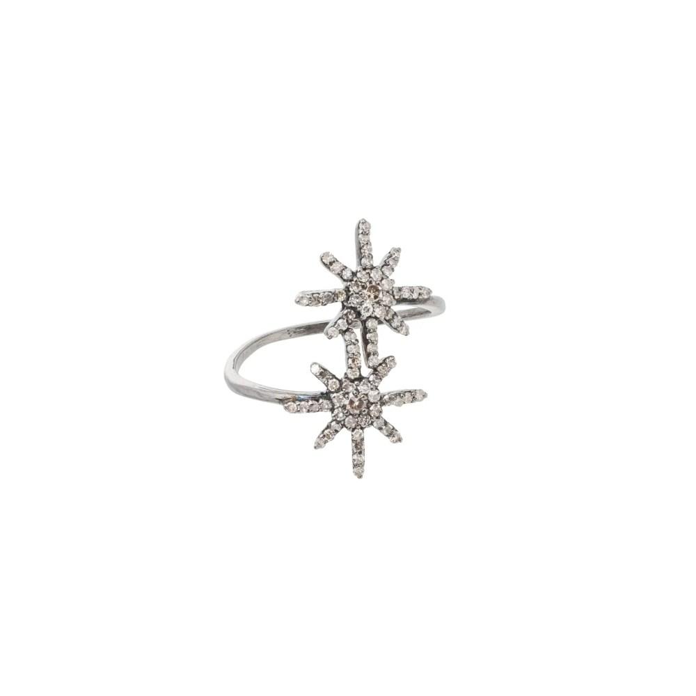 Diamond Double Sunburst Ring