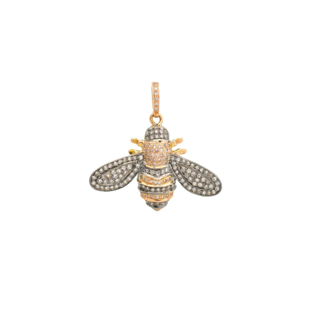 Diamond Bee Charm Silver and Gold