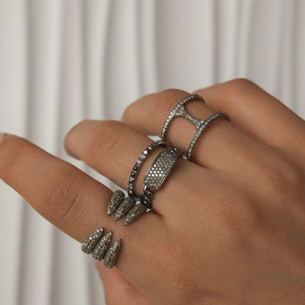 Diamond Curb Link Hard Chain ID Ring