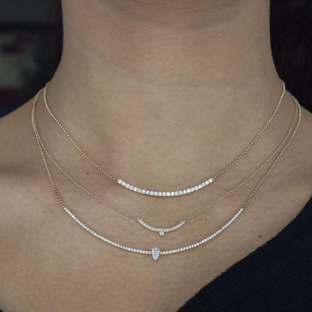 Diamond Curved Bar Diamond Pear Solitaire Necklace