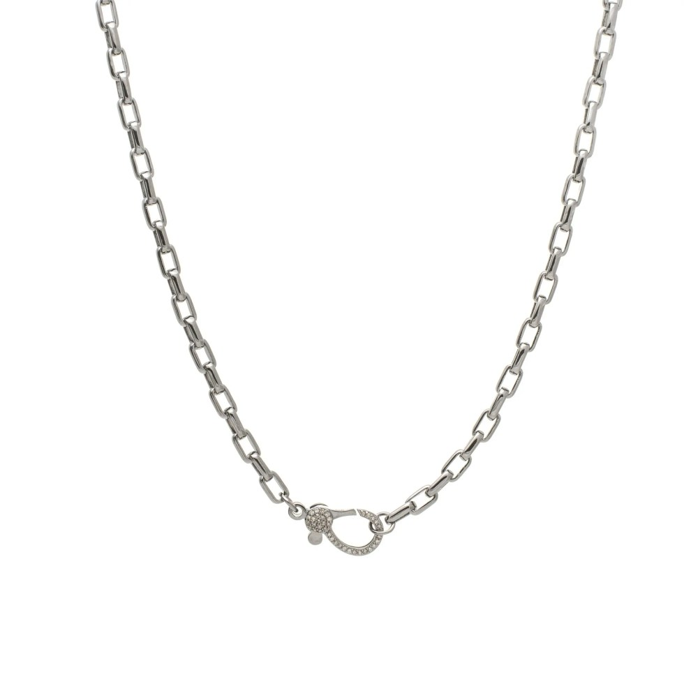 Diamond Lobster Clasp with Rectangle Chain Link Necklace Silver