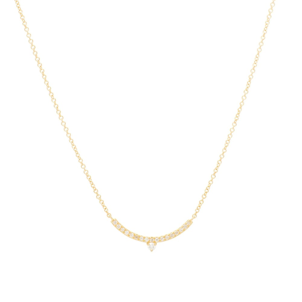 Diamond Mini Curved Bar + Diamond Pear Solitaire Necklace Yellow Gold