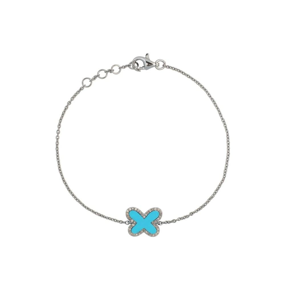 Diamond Mini Turquoise Butterfly Bracelet Sterling Silver