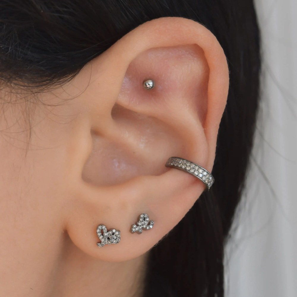 Mini Diamond Love Script Stud Earrings