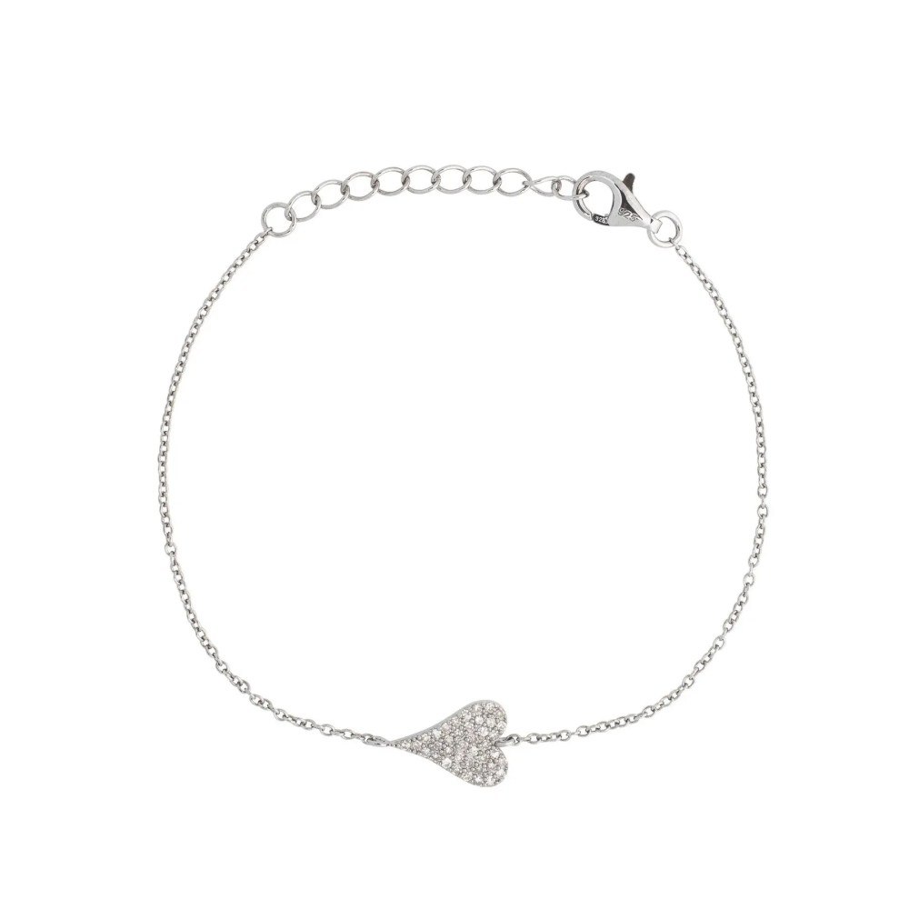 Small Diamond Modern Heart Chain Bracelet Sterling Silver