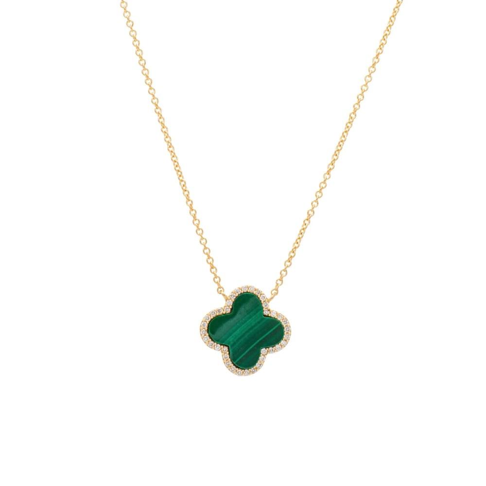 Diamond Malachite Clover Necklace Yellow Gold