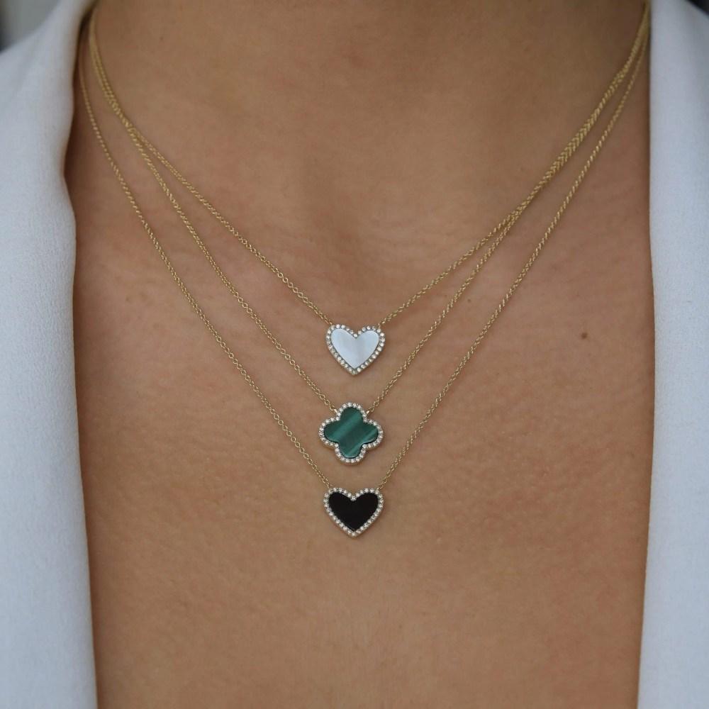 Diamond Malachite Clover Necklace