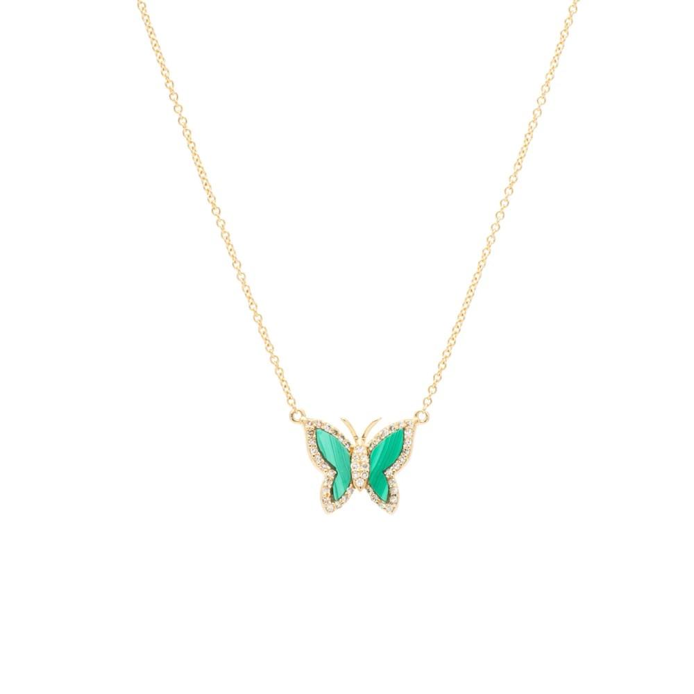 Diamond Mini Malachite Gemstone Butterfly Necklace Yellow Gold