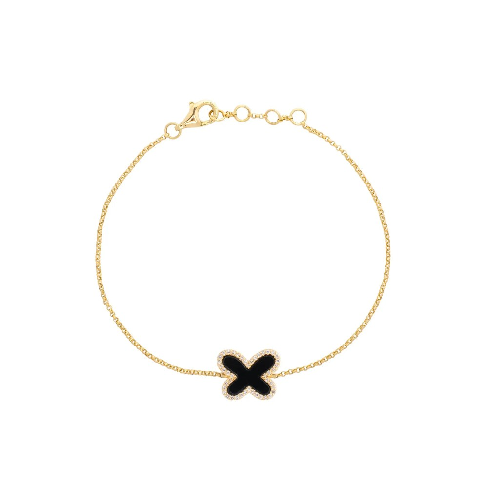 Diamond Mini Onyx Butterfly Bracelet Yellow Gold