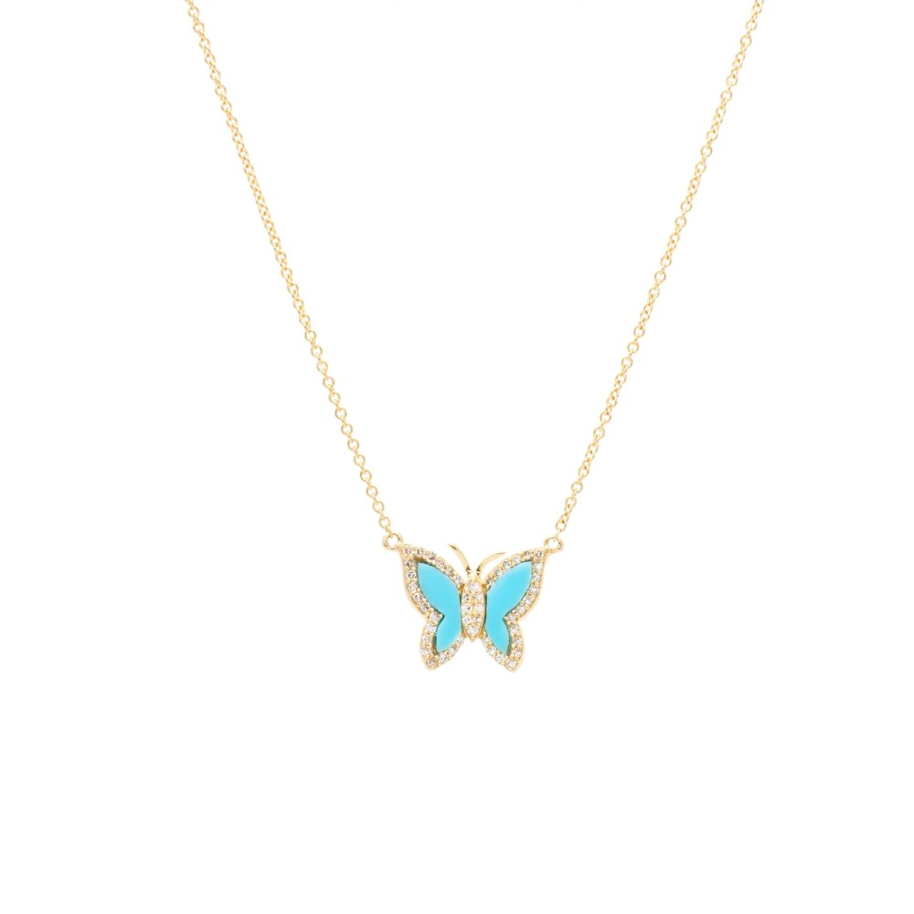 Diamond Mini Turquoise Butterfly Necklace Yellow Gold