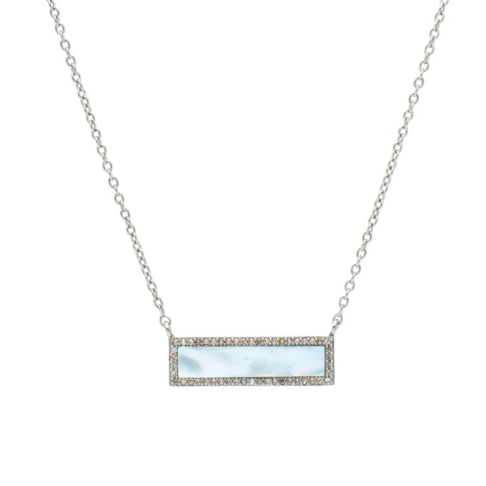 Diamond Mother-of-Pearl ID Necklace Silver