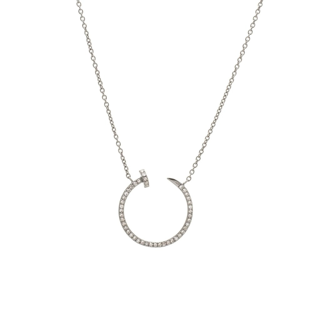 Diamond Nailhead Open Circle Necklace Sterling Silver