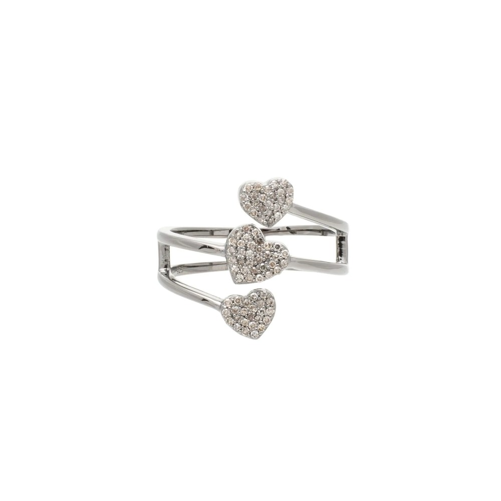 Diamond Triple Heart Wrap Around Ring Sterling Silver