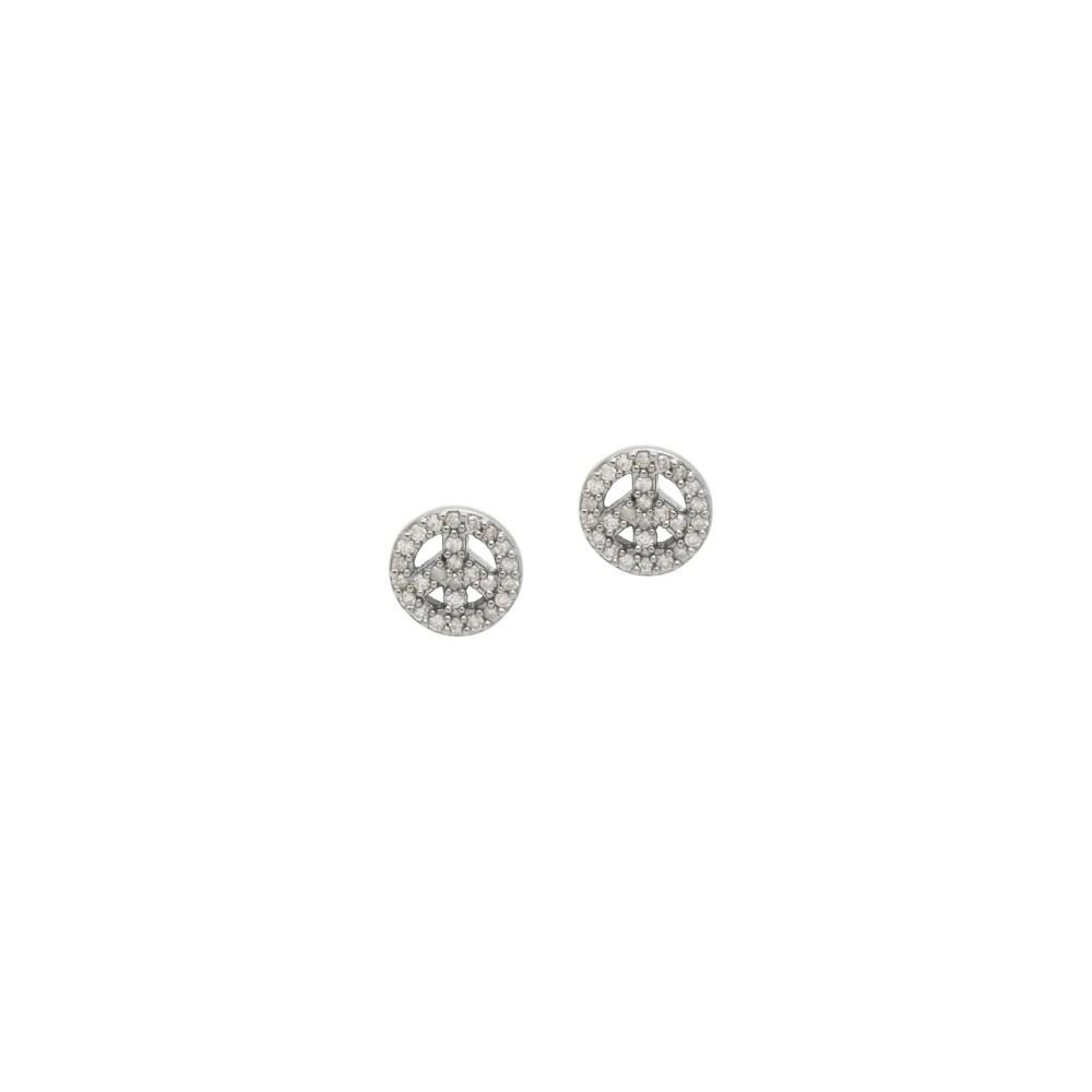 Mini Diamond Peace Sign Earrings Sterling Silver