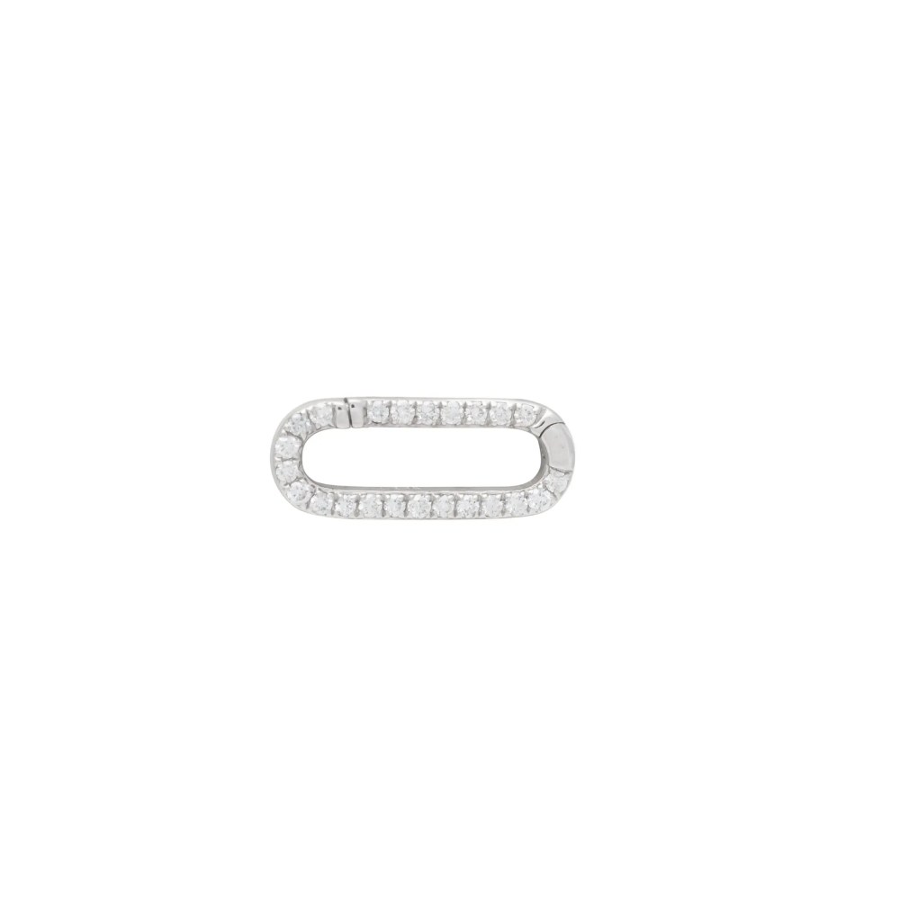 Mini Pave Diamond Gold Link Connector Clasp White Gold