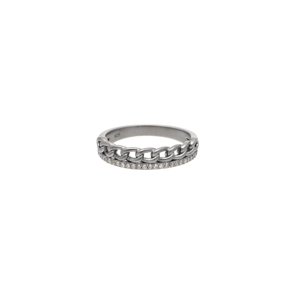 Diamond + Curb Link Ring Sterling Silver