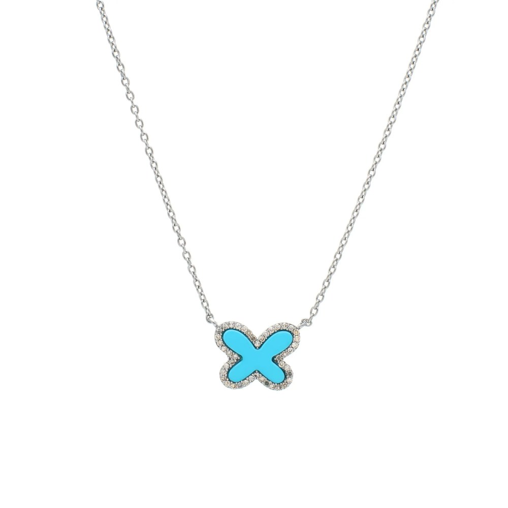 Diamond Mini Turquoise Butterfly Necklace Sterling Silver
