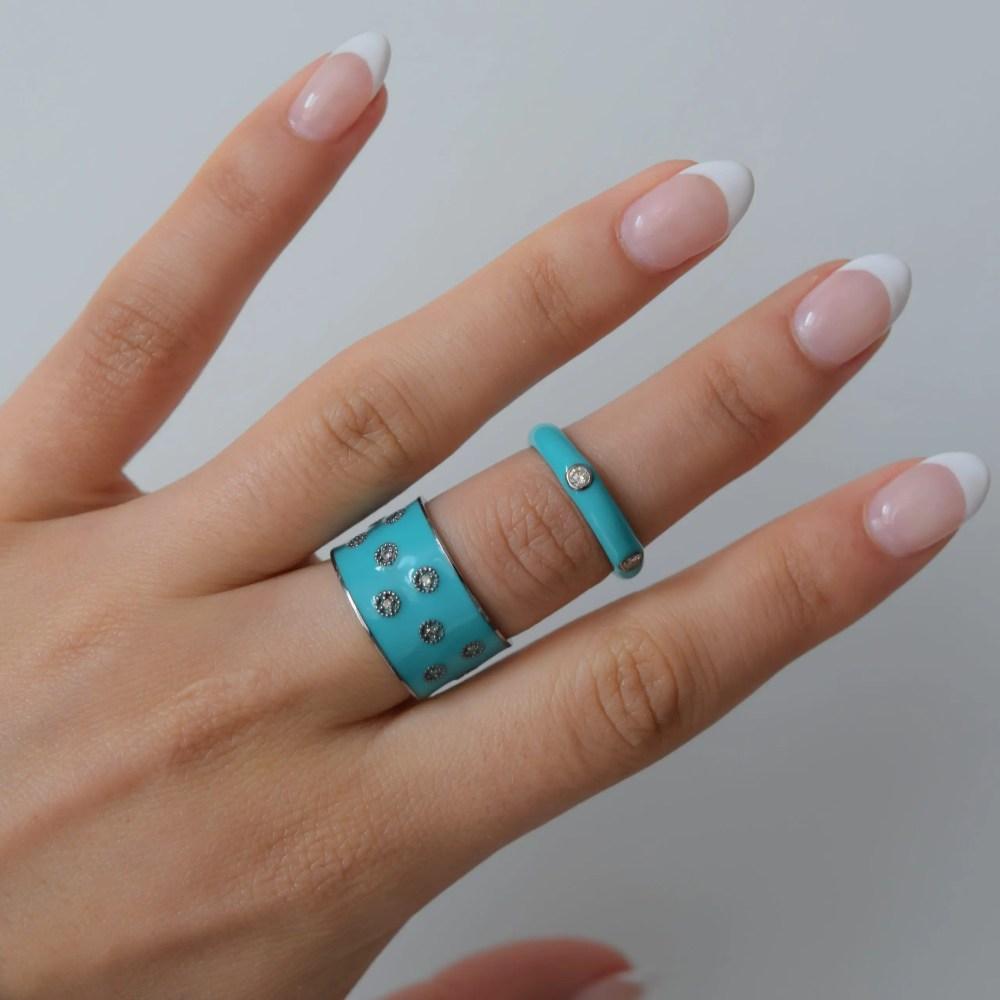 Diamond Turquoise Enamel Eternity Band