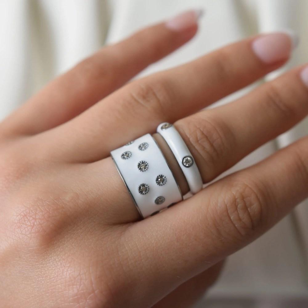Diamond White Enamel Band Silver
