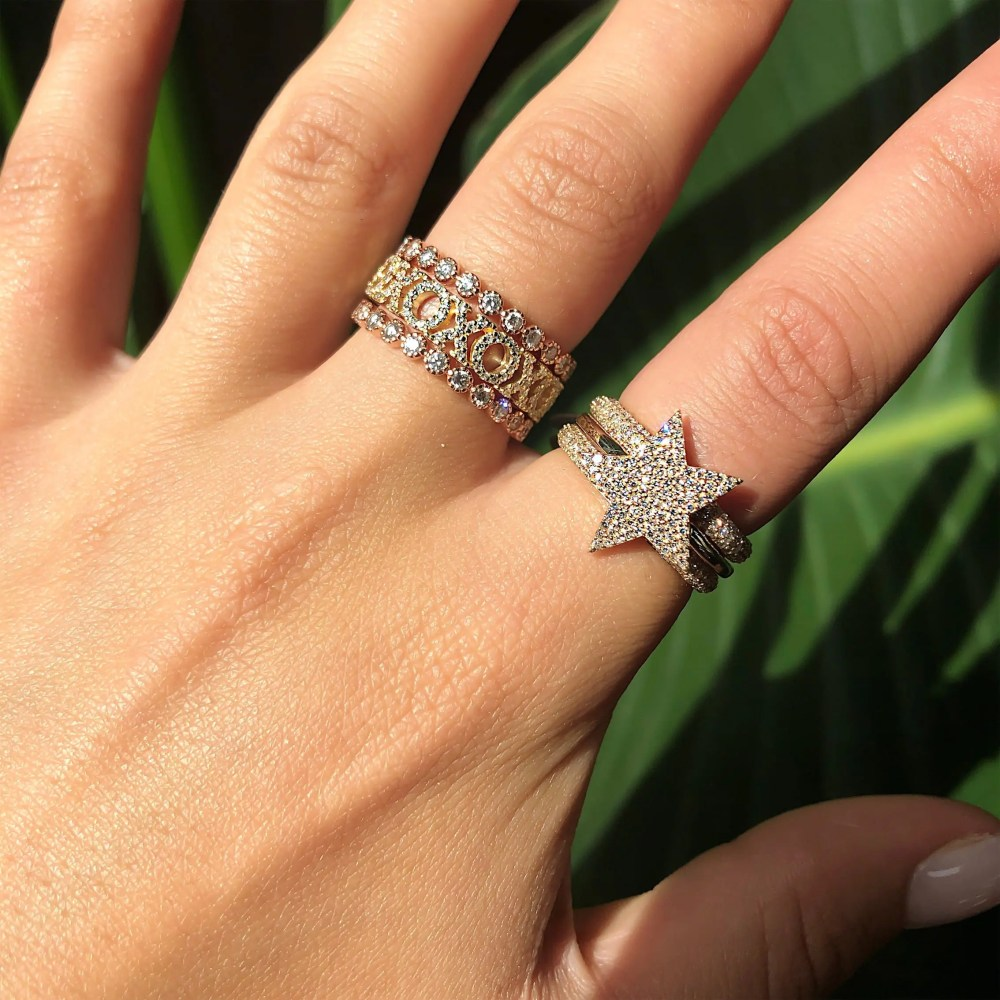 Gold Diamond Star Ring