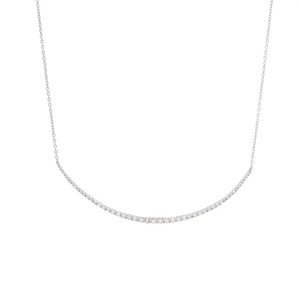 Graduated Diamond Curved Bar Necklace Sterling Silver