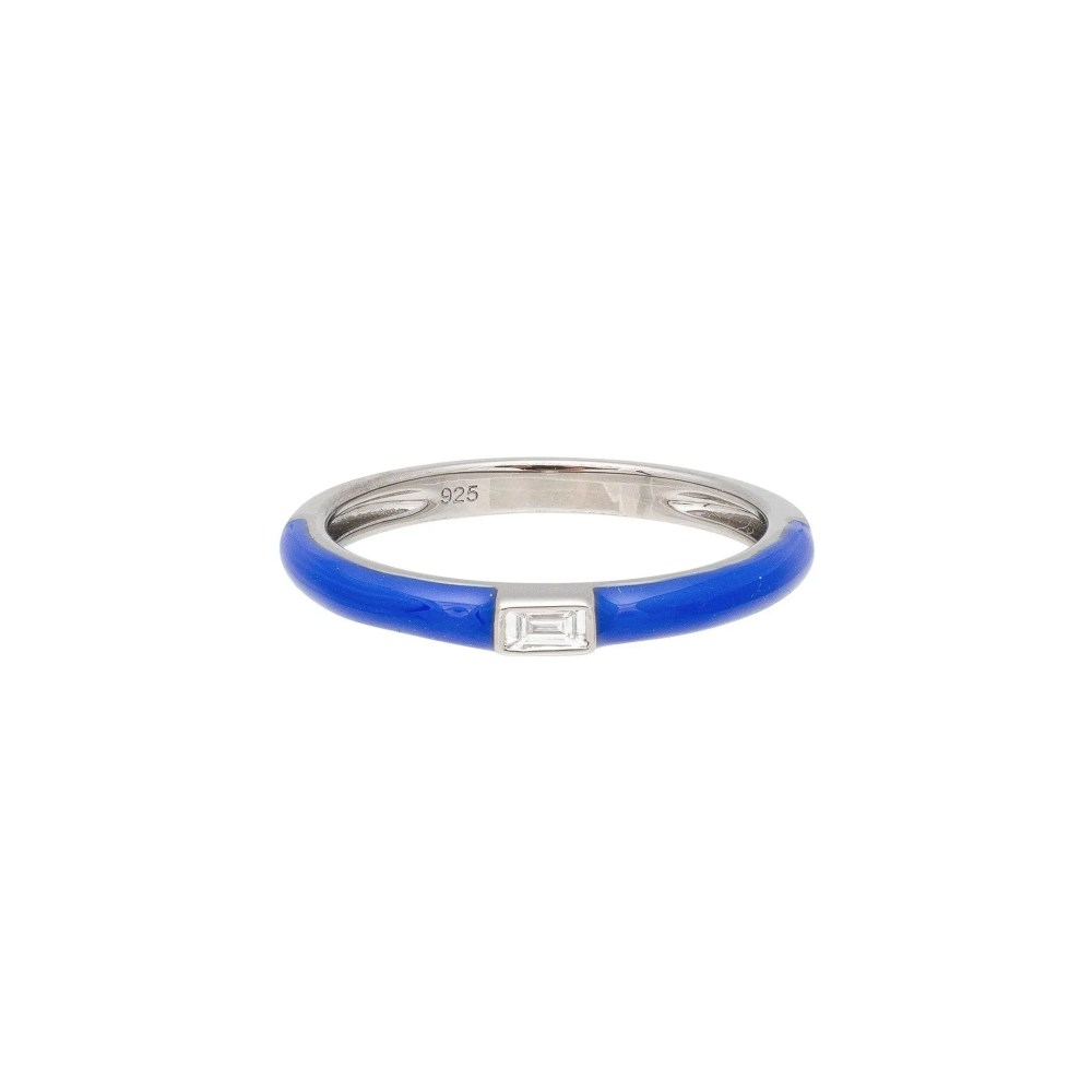 Baguette Diamond Blue Enamel Stacking Ring Silver