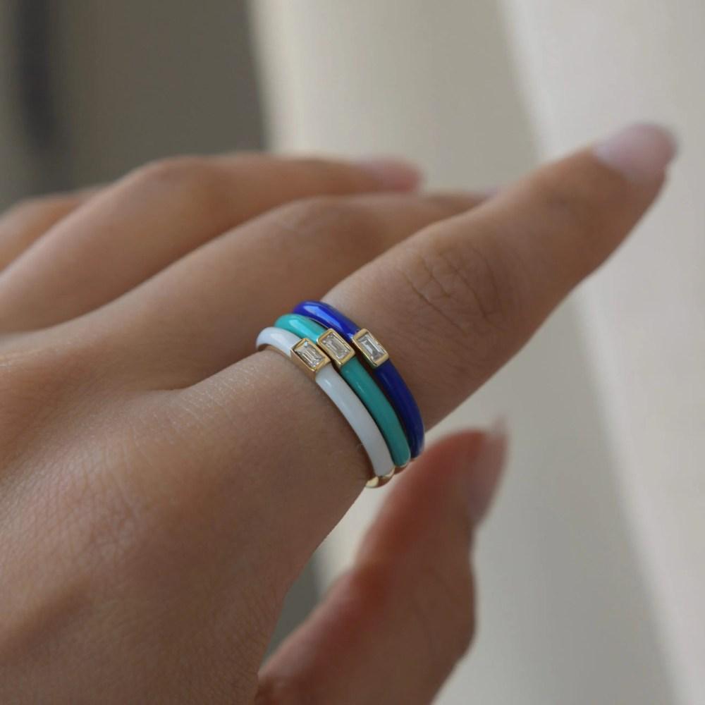 Baguette Diamond Enamel Stacking Ring