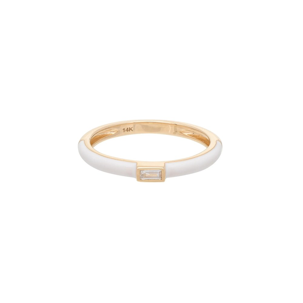 Baguette Diamond + White Enamel Stacking Ring Yellow Gold